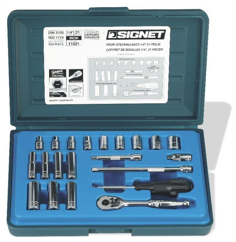 "Signet 1/4"" Drive 21 Piece SAE Socket Set 3/16""-1/2"" Regular 