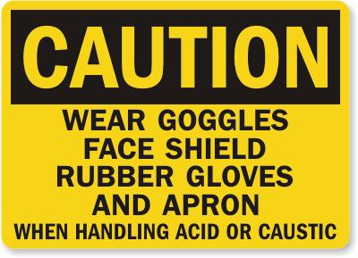 Wear Goggles When Handling Acid or Caustic Safety Sign Facility Safety - Cleanflow