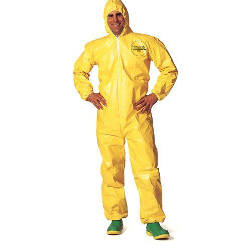 DuPont Tychem 2000 Chemical Splash Disposable Coveralls w/ Elastic Wrists, Ankles and Hood Work Wear - Cleanflow
