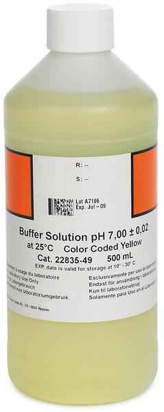 Hach 2283549 Buffer Solution, pH 7.00 (NIST), color-coded yellow, 500 mL