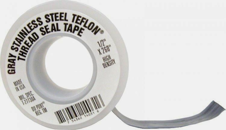 "1/2"" Gray Stainless Steel Thread Seal Teflon Tape Fittings and Valves - Cleanflow"