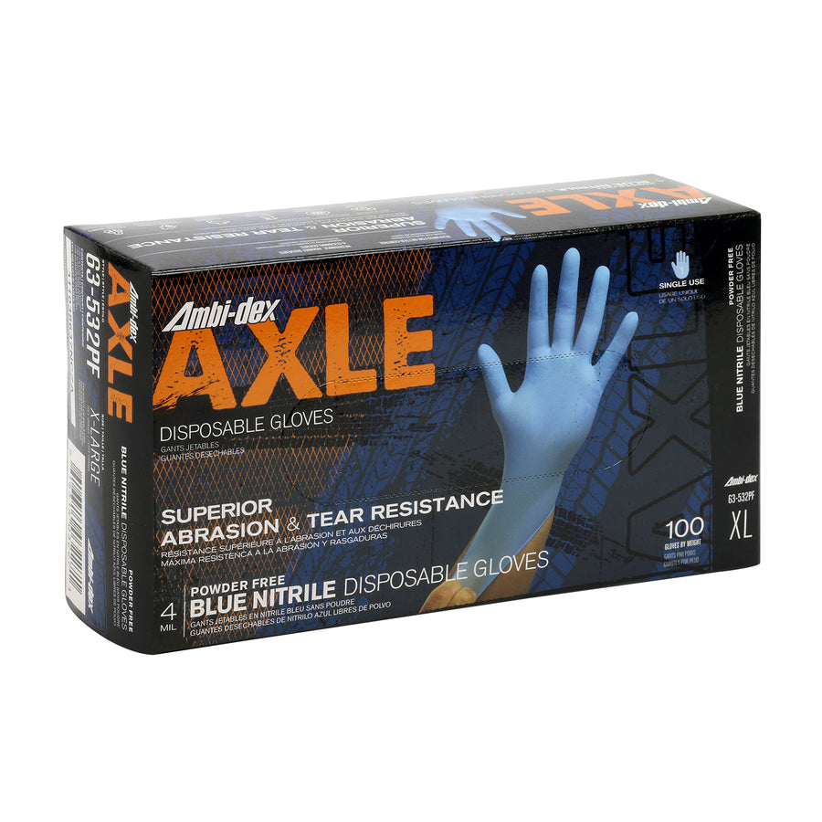 Ambi-Dex® Axle Blue Powder-Free Disposable Textured Nitrile Gloves - 4 Mil - Box of 100 Work Gloves and Hats - Cleanflow