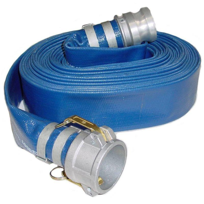 Blue PVC Layflat Discharge Hose Assemblies (w/ Male X Female Camlocks)