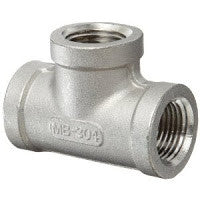 "Stainless Steel Sch 40 Tee Pipe Fitting | 1/8"" NPT to 3"" NPT Sizes Fittings and Valves - Cleanflow"