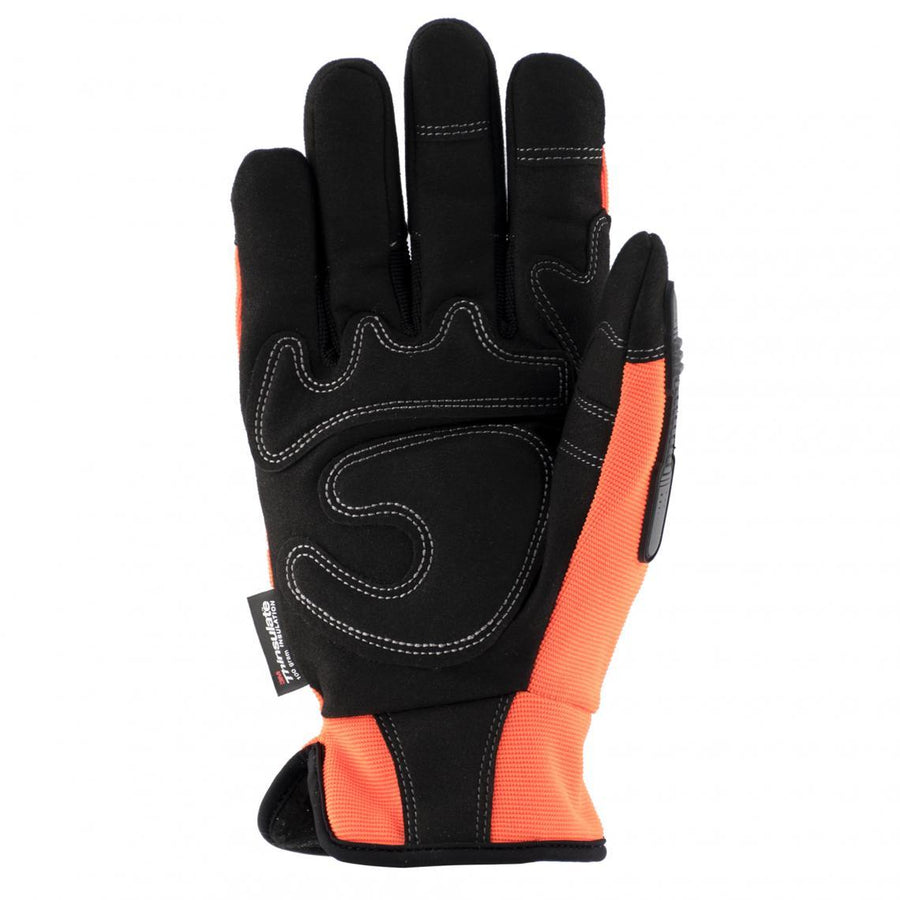 Terra Hi-Vis Mechanic's Thinsulate Winter Work Gloves | Orange Work Gloves and Hats - Cleanflow