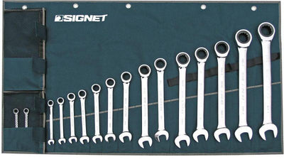 Signet 34166 Ratcheting Wrench Set, SAE, 16 Piece Mechanic Tools - Cleanflow