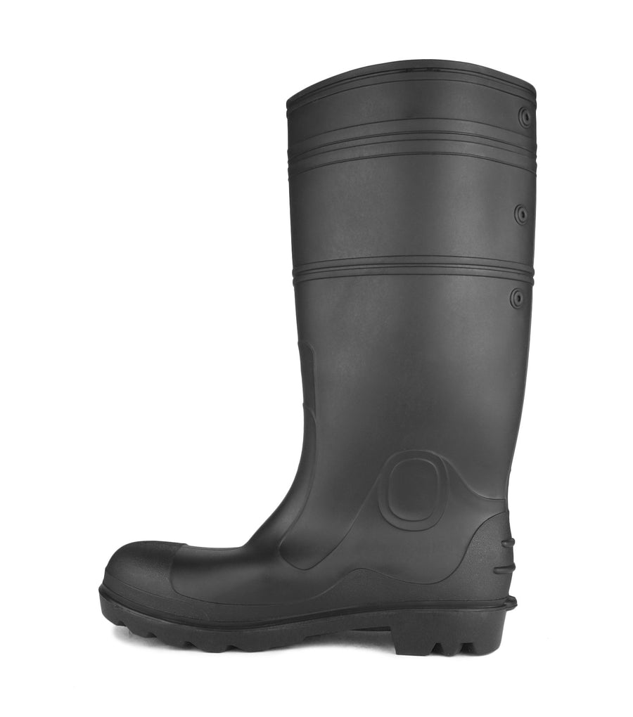 Acton Function Plain Toe Rain Boots | Black | Sizes 4 - 14 Work Boots - Cleanflow