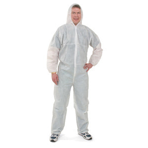 White Disposable SMS Tri-Laminate Coveralls