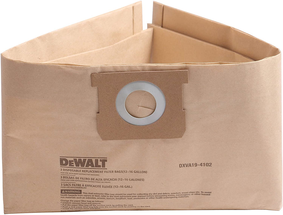 DeWalt DXVA19-4102 Disposable Filter Bag - For 12 to 16 Gal Vacs - Pack of 3 Janitorial Supplies - Cleanflow