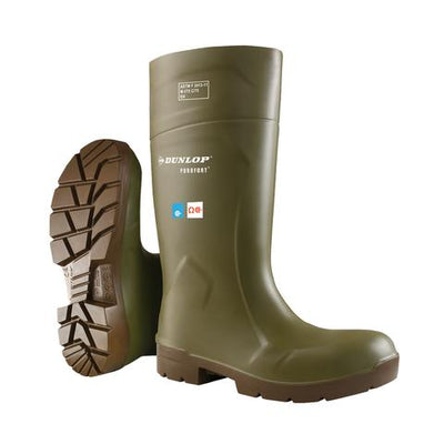 Dunlop Purofort FoodPro Safety Rain Boots | Green | Sizes 6 - 16 Work Boots - Cleanflow
