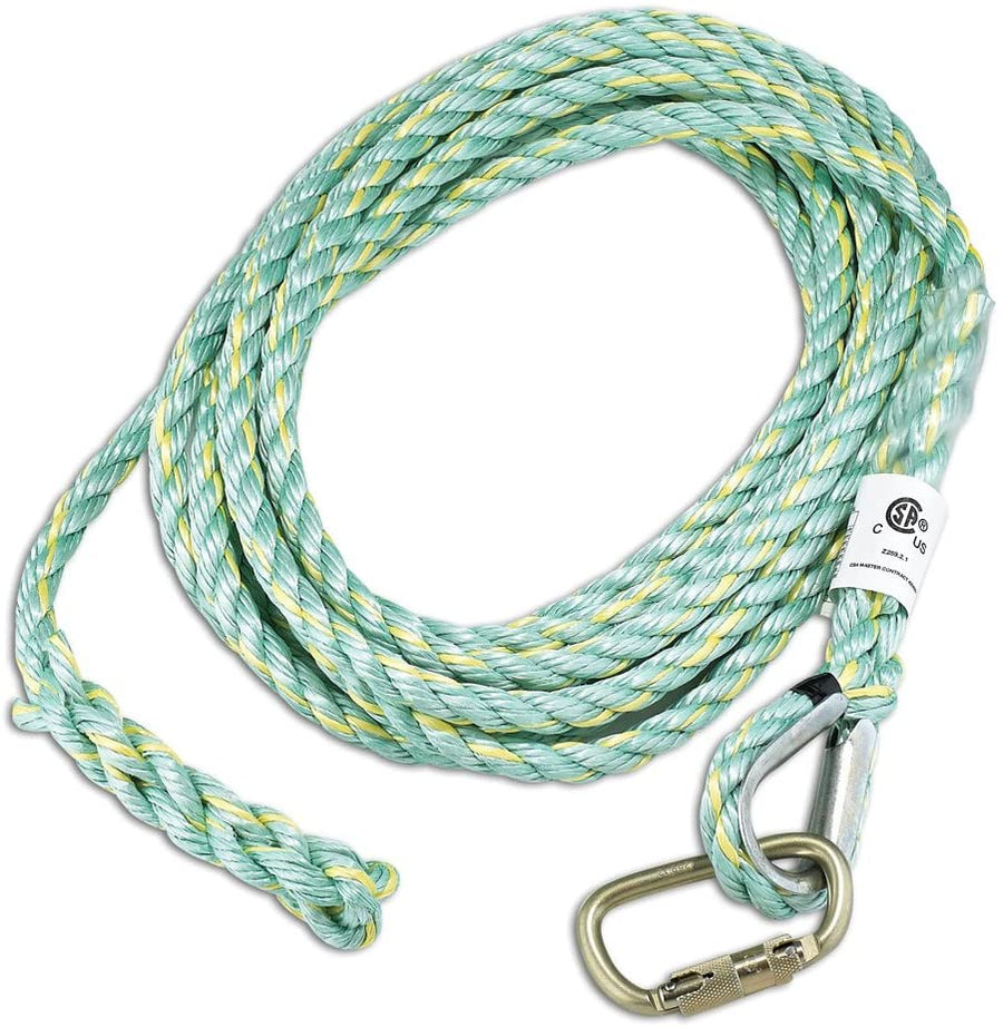 Dynamic 3-Strand Co-Polymer Vertical Rope Lifelines w/ Carabiner Confined Space - Cleanflow