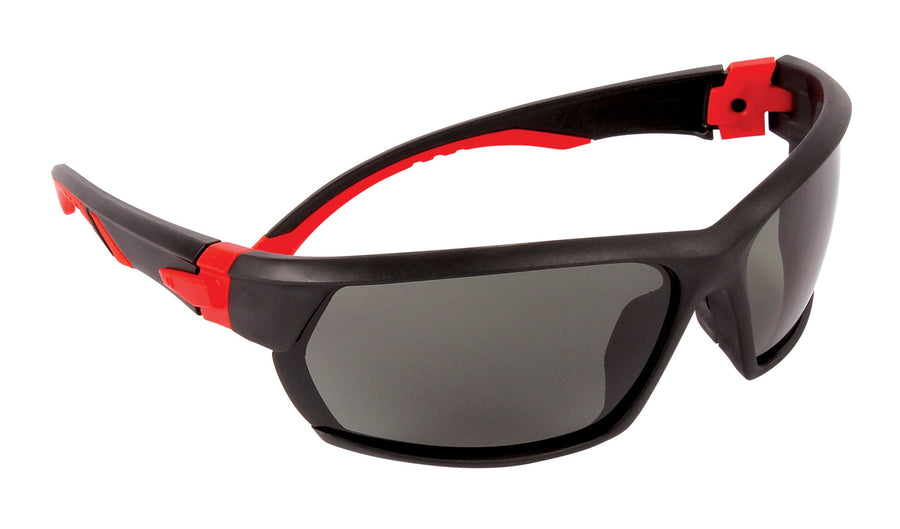 Dynamic Racer Soft Nose-Piece System Safety Glasses w/ Removable Retaining Strap | Red & Black Frame | Smoke Lens Personal Protective Equipment - Cleanflow