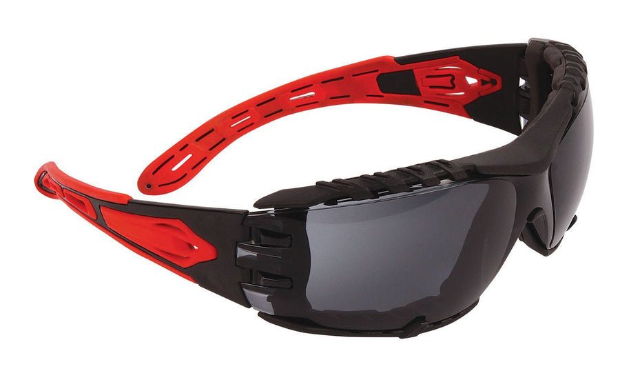 Dynamic Volcano Plus Safety Glasses w/ Removable Foam Padding | Smoke Lens Personal Protective Equipment - Cleanflow