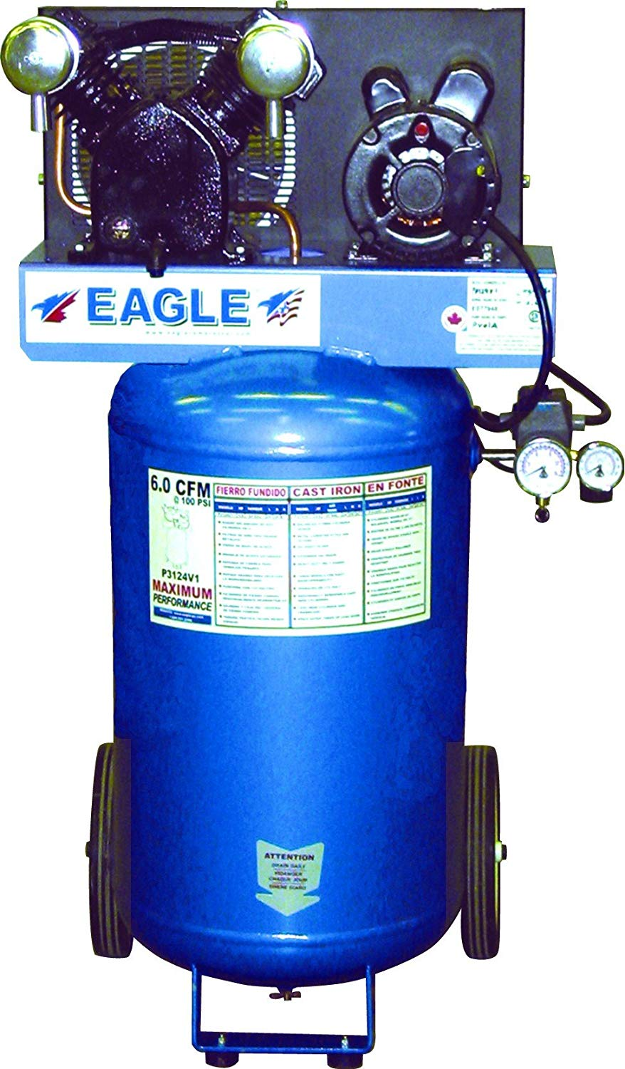 Eagle Portable Vertical Electric Air Compressor - 3 HP - 24 Gallon Tank Facility Equipment - Cleanflow