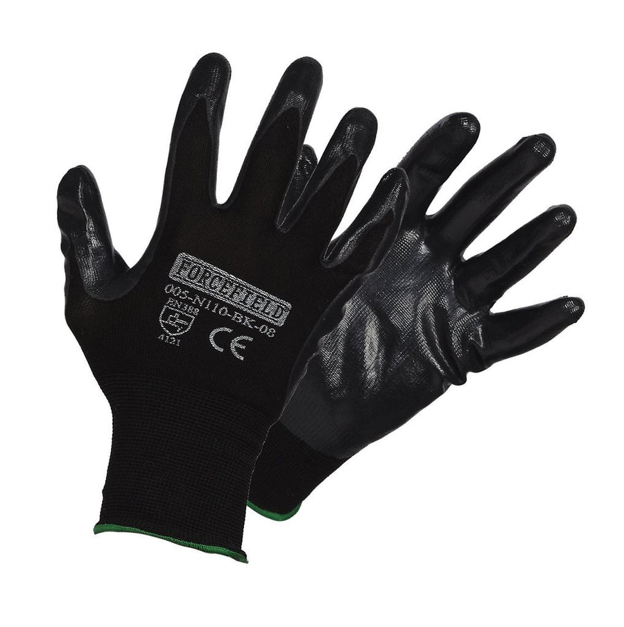 Black Seamless Knit Nylon Gloves with Nitrile Palm | M-2XL | Pack of 12 Pairs Work Gloves and Hats - Cleanflow