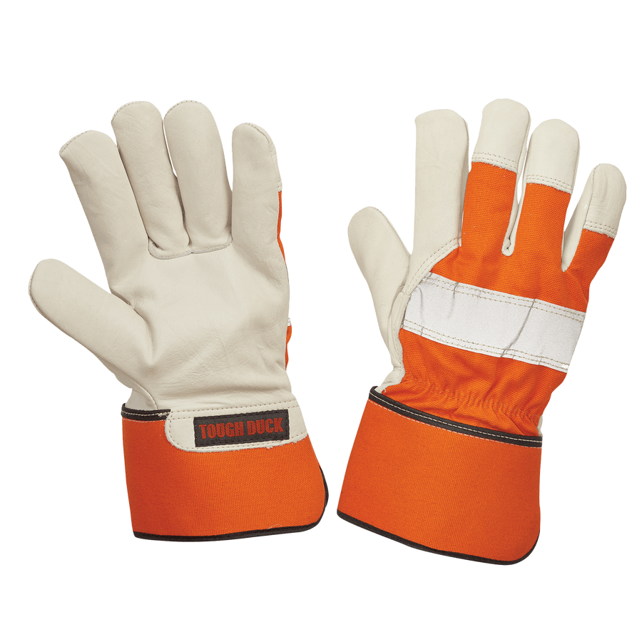 Tough Duck Hi-Vis 100G Thinsulate Premium Cowgrain Leather Winter Work Gloves Work Gloves and Hats - Cleanflow