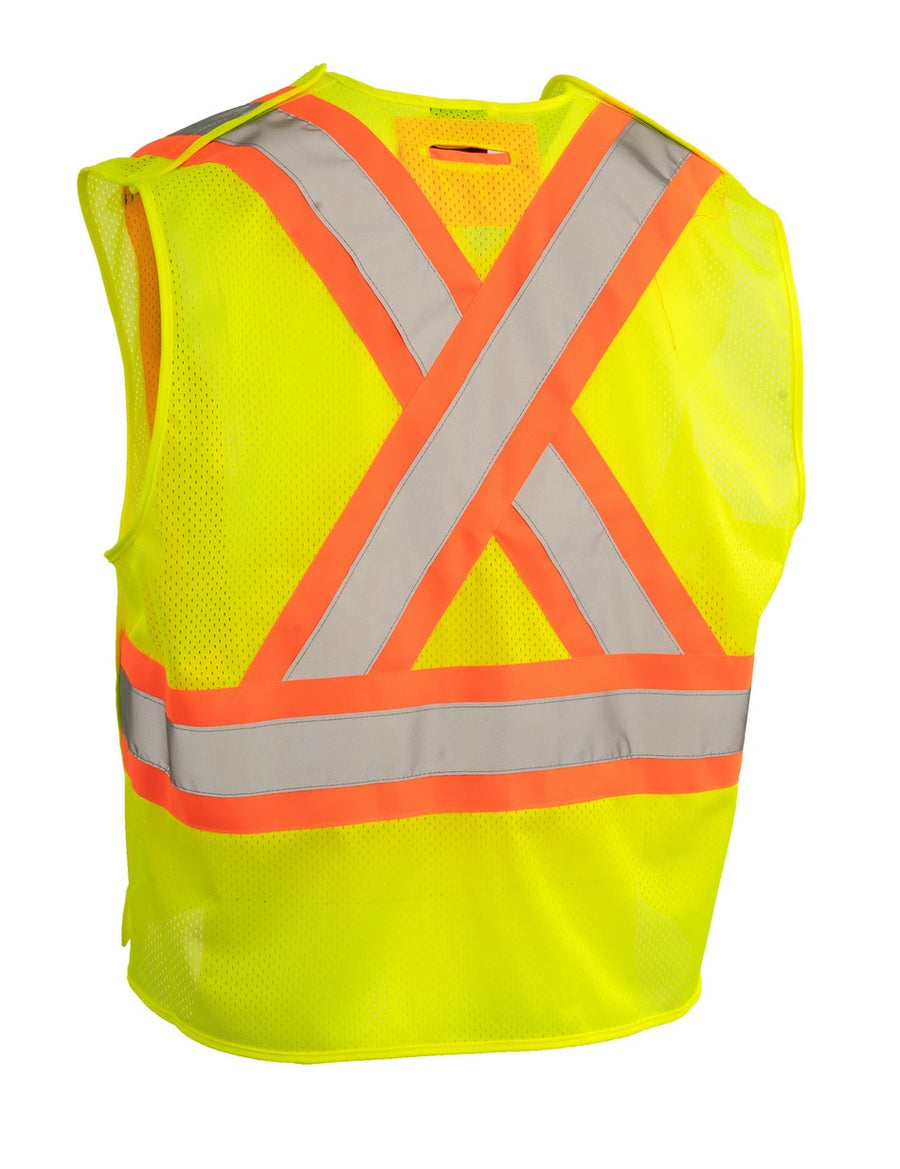 High Visibility CSA 5-Point Tearaway Safety Vest with Pockets | Yellow | One Size Fits All Hi Vis Work Wear - Cleanflow
