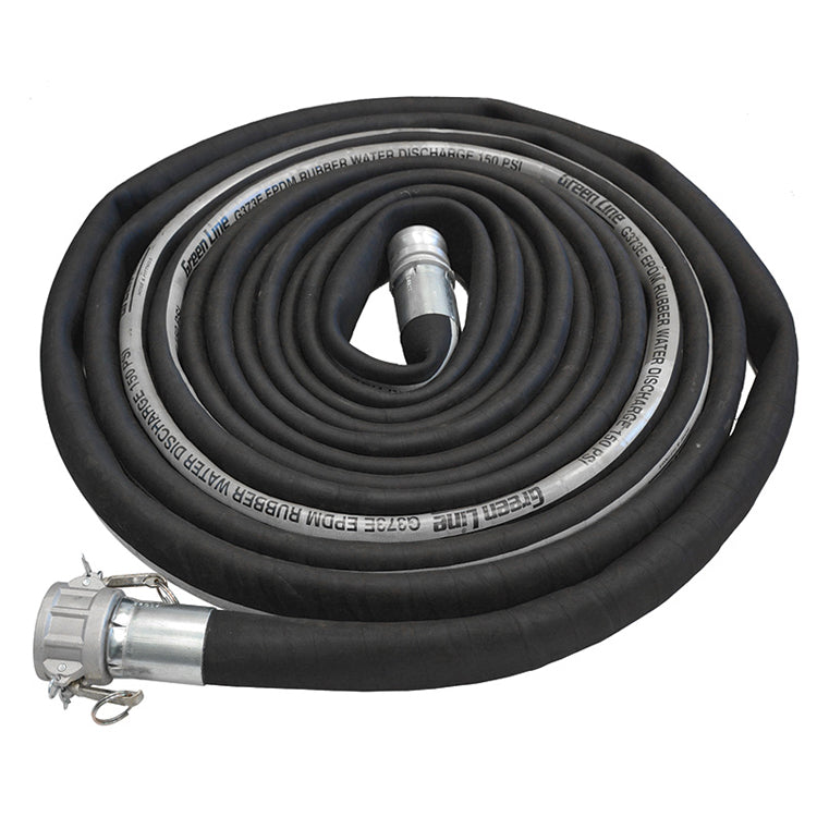 Black Rubber High Pressure Discharge Hose Assemblies (w/ Male X Female Camlocks) Hose and Fittings - Cleanflow