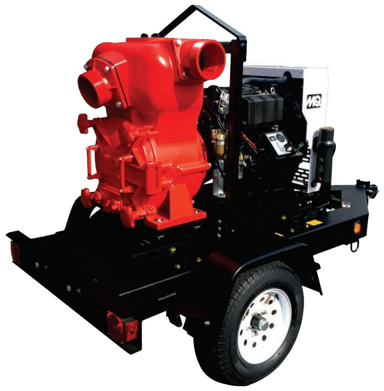 "Multiquip 6"" DOT Trailer Mounted Diesel Engine Trash Pump Sewage and Trash Pumps - Cleanflow"