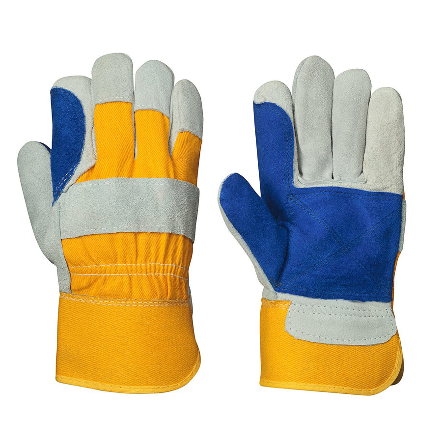 Pioneer 545 Double Palm Fitters Cowsplit Leather Gloves | Pack of 12 Pairs Work Gloves and Hats - Cleanflow