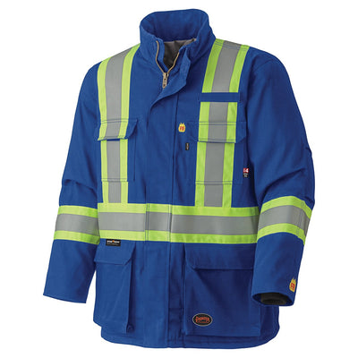 Pioneer 5523 Flame Resistant Hi-Vis Cotton Winter Parka | Royal Blue Flame Resistant Work Wear - Cleanflow