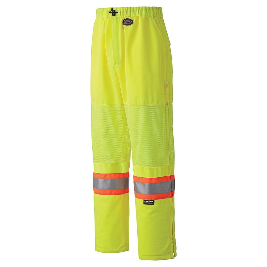 Pioneer Breathable Poly/Mesh Traffic Safety Pants | Yellow | M-4XL Hi Vis Work Wear - Cleanflow
