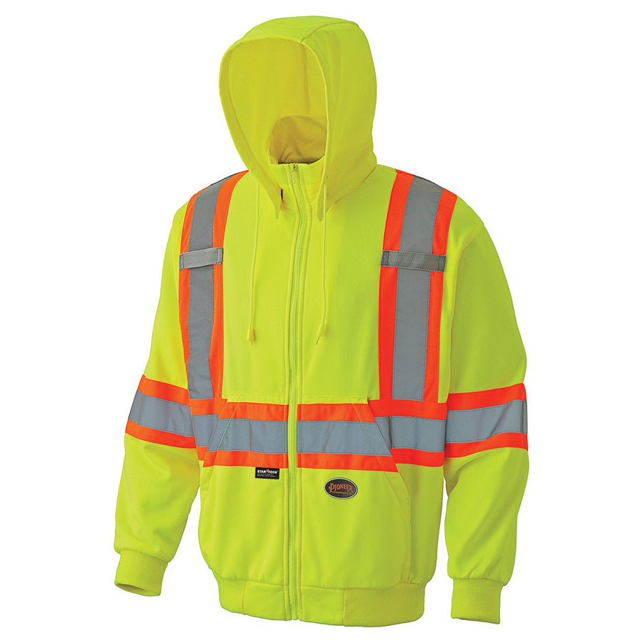 Pioneer 6941 Zipper Front Micro-Fleece Hi Vis Hoodie | Yellow | M-5XL Hi Vis Work Wear - Cleanflow