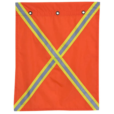 Polyester Traffic Flag - Reflective Tape Both Sides Facility Safety - Cleanflow