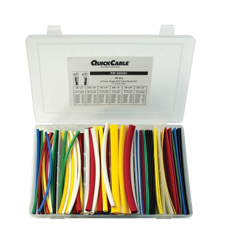 "Quick Cable Single Wall Heat Shrink Tube Kit - Assorted Colors, 6"" Long Maintenance Supplies - Cleanflow"