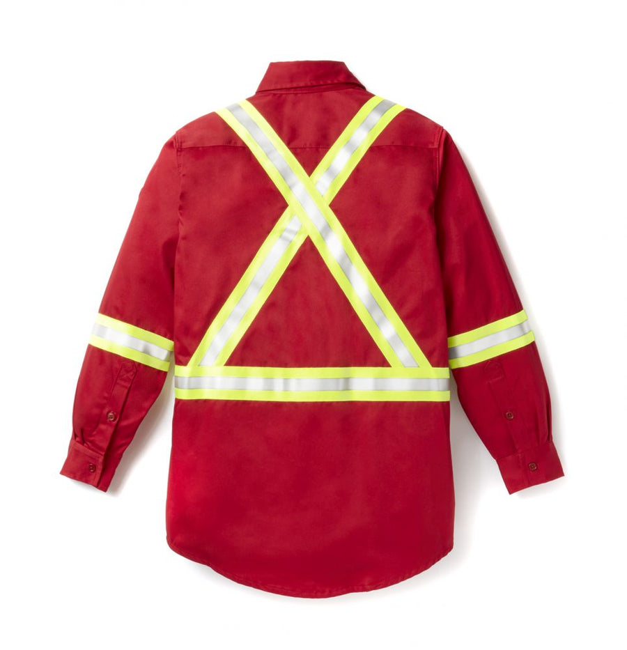 Rasco Uniform Shirt with Reflective Trim | Red | S - 5XL Flame Resistant Work Wear - Cleanflow