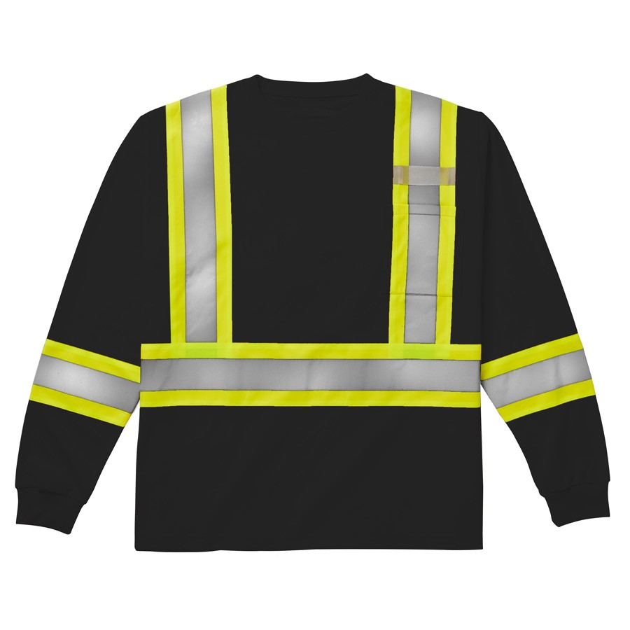Rasco Birdseye Long Sleeve Hi-Vis Shirt | Black | S-3XL