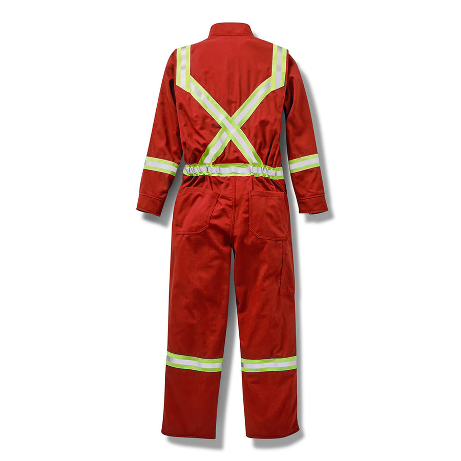 Rasco Premium Coverall with Reflective Trim | Red | Sizes 42T-62T Flame Resistant Work Wear - Cleanflow