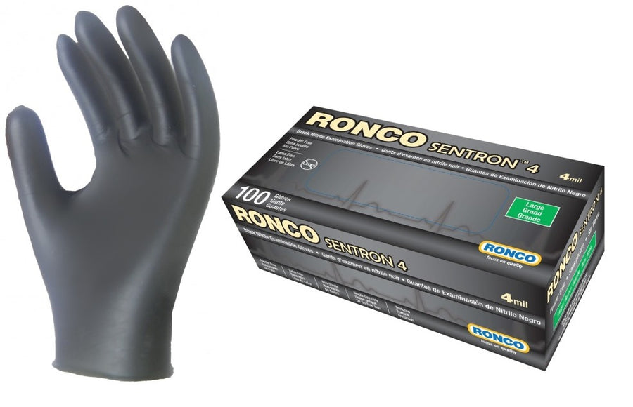 Ronco SENTRON 4 Black Nitrile Examination Glove - 4 Mil - Box of 100 Work Gloves and Hats - Cleanflow