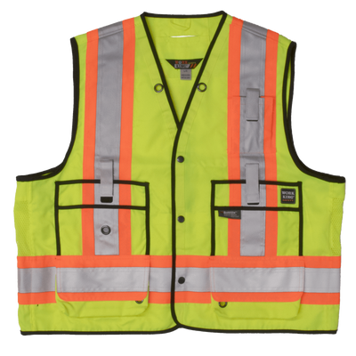 Tough Duck s313 High Visibility Surveyor Safety Vest | Yellow | S-3XL Hi Vis Work Wear - Cleanflow
