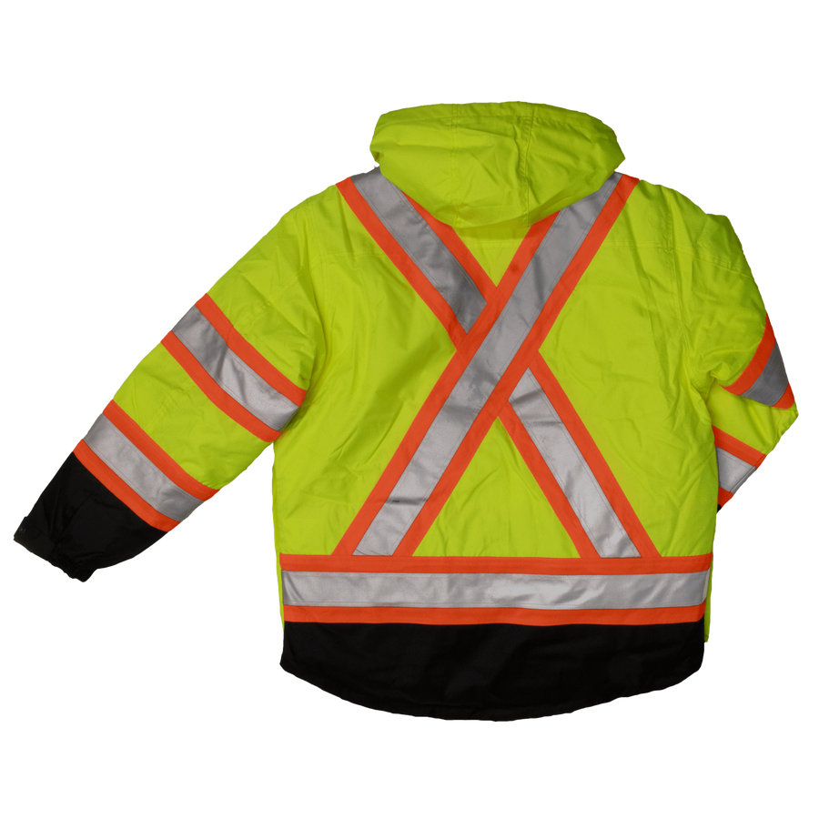 Tough Duck s426 Insulated 300D 5-In-1 Safety Jacket | Yellow | S-5XL Hi Vis Work Wear - Cleanflow