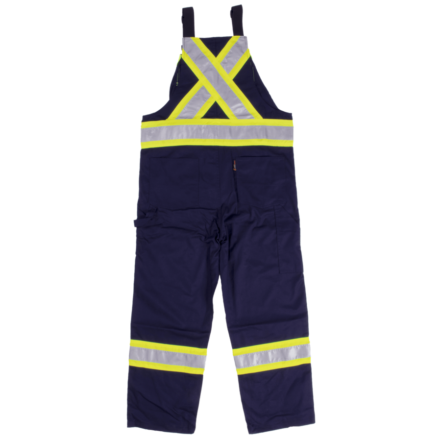 Tough Duck Reflective Striped Poly/Cotton Bib Overalls | Navy | Limited Size Selection Hi Vis Work Wear - Cleanflow