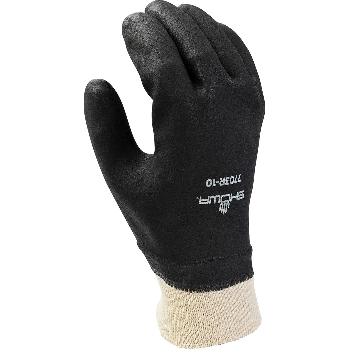 Showa 7703R PVC Coated Knit Wrist Rough Finish Work Glove (Pack of 12 Pairs) Work Gloves and Hats - Cleanflow