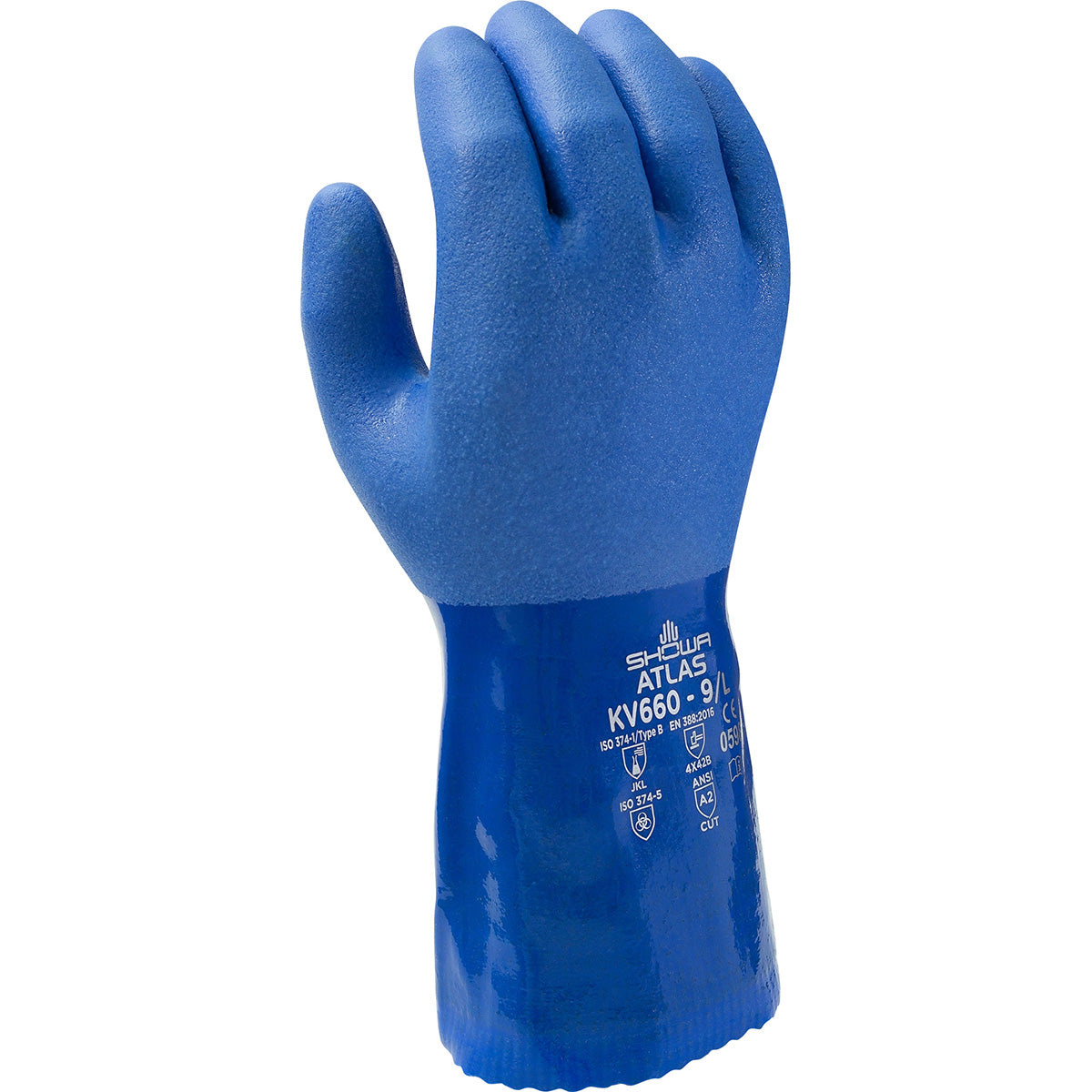 Showa KV660 Super Flexible Triple-Dipped PVC Chemical Resistant Safety Glove with Kevlar Liner (Pack of 12 Pairs) - Cut Level A2 Work Gloves and Hats - Cleanflow