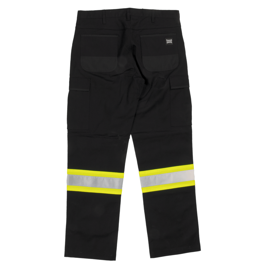 Tough Duck SP03 Flex Twill Safety Cargo Pant | Black | Sizes 30 - 48 Hi Vis Work Wear - Cleanflow