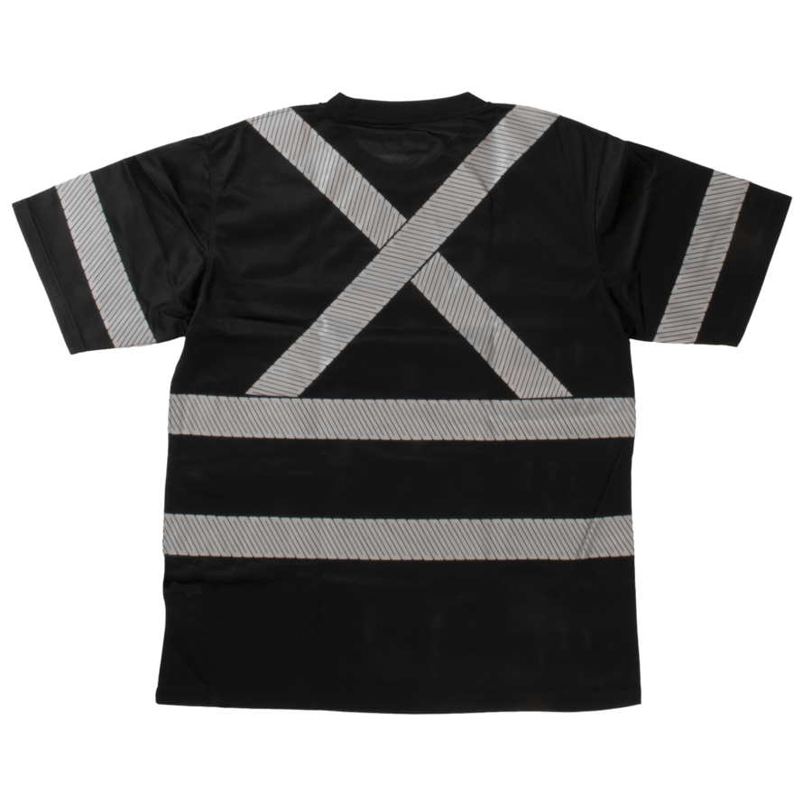 Tough Duck ST07 Safety T-Shirt with Segmented Stripes | Black | S-3XL Hi Vis Work Wear - Cleanflow