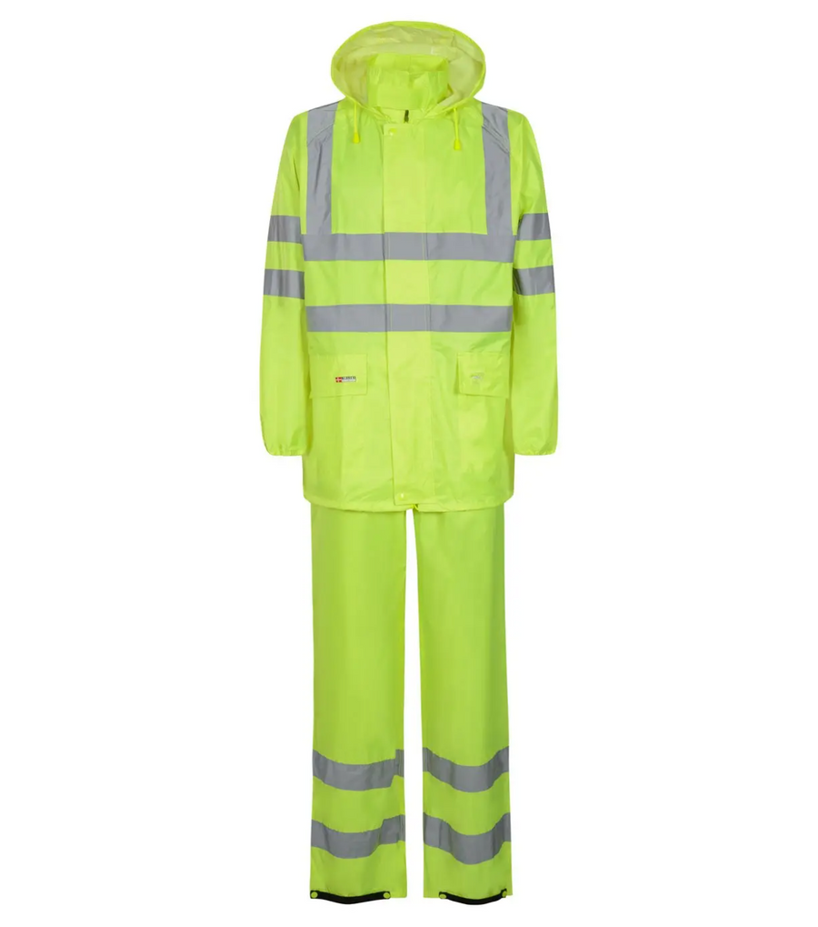 Lyngsoe Rainwear 190T Poly/PVC Hi-Vis Luxe Rain Suit | Yellow | Sizes XS - 4XL Hi Vis Work Wear - Cleanflow