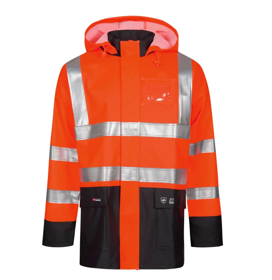 Lyngsoe Rainwear PU/PVC HI VIS CSA Rain Jacket | Red/Navy | Sizes S - 4XL Hi Vis Work Wear - Cleanflow