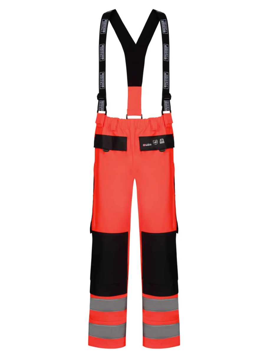 Lyngsoe Rainwear PU/PVC HI VIS CSA Bib Trouser | Red/Navy | Sizes S - 4XL Hi Vis Work Wear - Cleanflow
