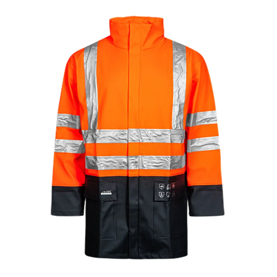 Lyngsoe Flame Resistant HI VIS Rain Jacket in Heavy Quality PVC/PE-CO | Orange/Navy | Sizes S - 4XL Flame Resistant Work Wear - Cleanflow
