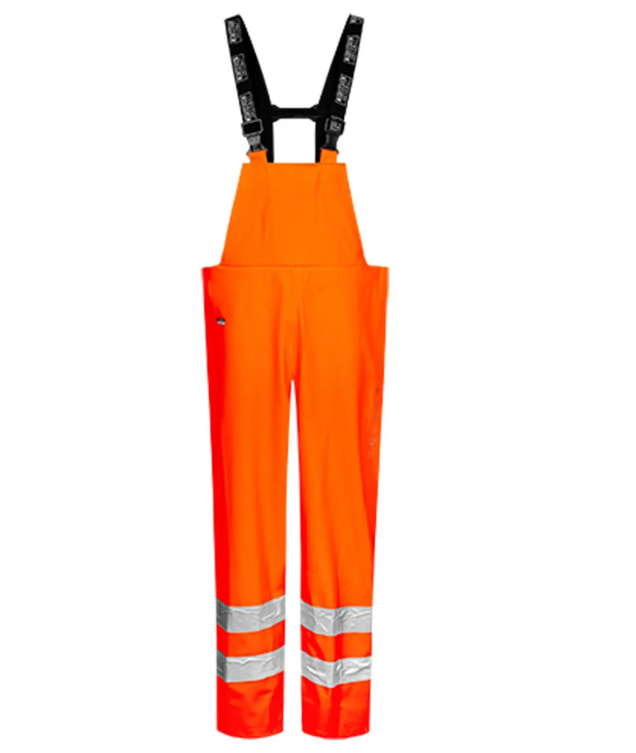 Lyngsoe Rainwear Electric Arc Anti-Flame Rain Bib Overall | Orange | Sizes S - 4XL Flame Resistant Work Wear - Cleanflow