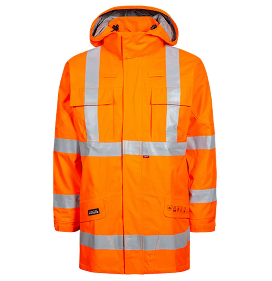 Lyngsoe Flame Resistant HI VIS Rainwear | Orange | Sizes S - 4XL Flame Resistant Work Wear - Cleanflow