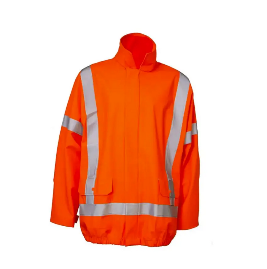 Lyngsoe Rainwear Fire Resistant Fall Arrest Rain Jacket | Orange | Sizes S - 4XL Flame Resistant Work Wear - Cleanflow