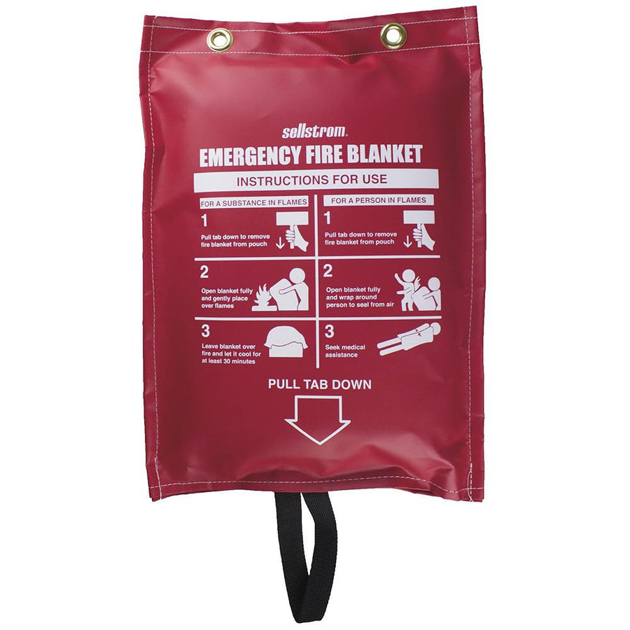Sellstrom Emergency Fire Blanket - Red Vinyl Hanging Pouch