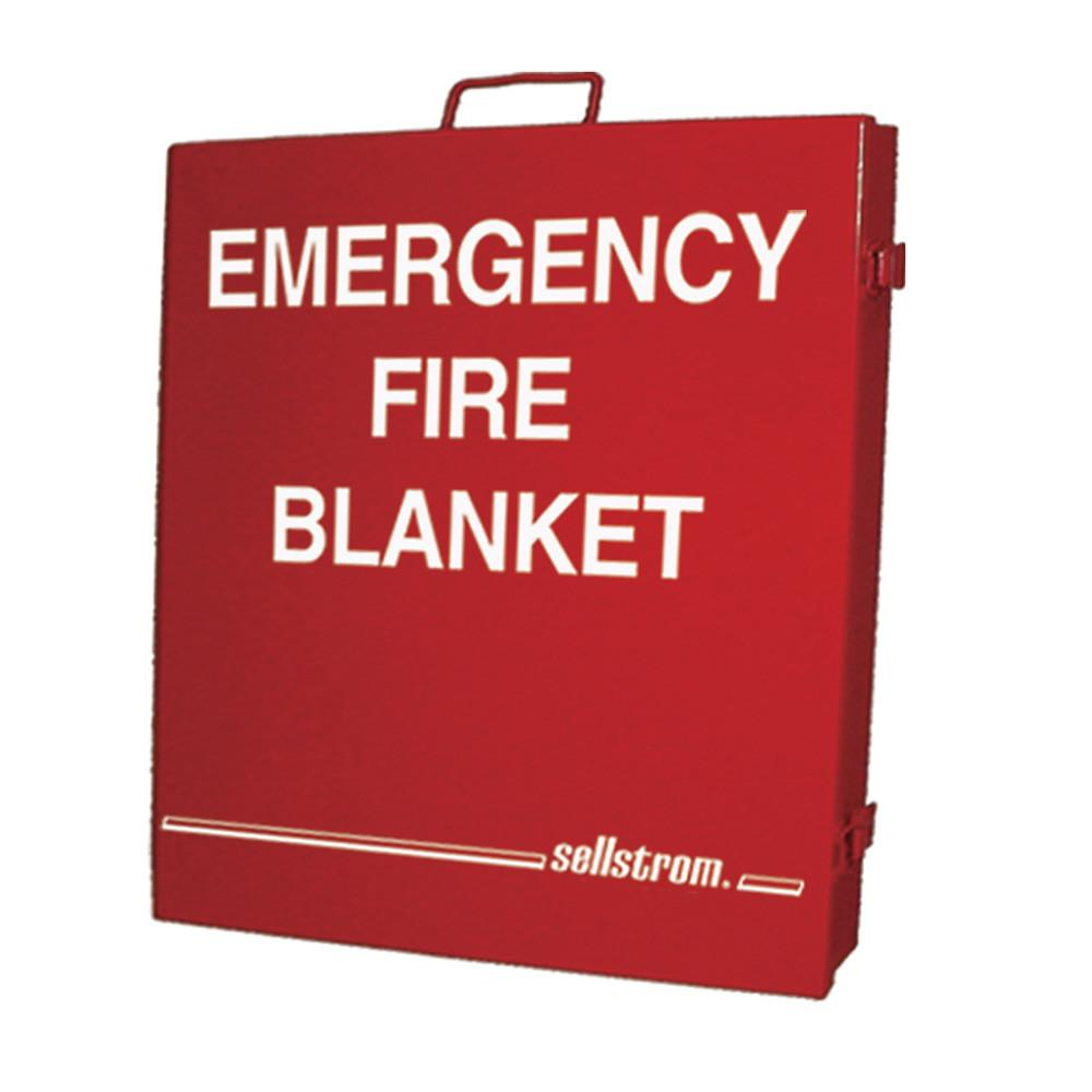 Sellstrom Emergency Fire Blanket - Red Metal Storage Cabinet Facility Safety - Cleanflow