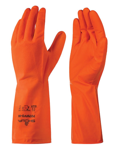 Showa 707HVO Orange Nitrile 9-Mil Biodegradable Chemical Resistant Rough Grip Gloves (Pack of 12 Pairs) Work Gloves and Hats - Cleanflow